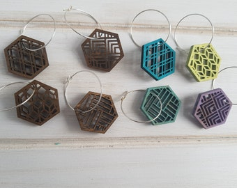 Walnut- Cool Color Pop Geo Wine Charms -Set of Eight - Fun Wine Charms -Modern Classic Wine Charms- Wood Laser Cut- Geometric Wooden