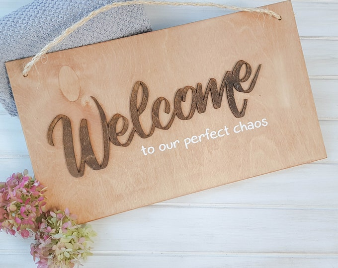 Welcome - Funny Welcome Signs - Front Hall Wall Decor - Living Room Decor - Farmhouse Living Room Sign - Guest Bedroom
