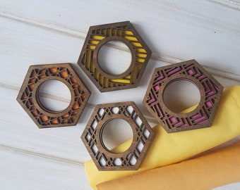 Walnut -Make Your Own- Color Pop Geo Napkin Rings -Set of Eight- Fun Napkin Ring-Modern Classic Napkin Ring-Wood Laser Cut- Geometric Wooden