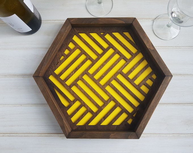 Yellow - Color Pop Geo Serving Tray - Fun Tray -Modern Classic Tray- Wood Laser Cut- Geometric Wooden