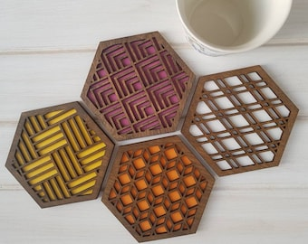 Walnut- Warm Color Pop Geo Coasters -Set of Four - Fun Coaster -Modern Classic Coaster - Wood Coaster-Laser Cut- Geometric Wooden- Pink