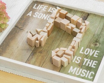 Life is a song Love is the music - Romantic sign - Love sign - Gallery wood sign - Cute wood sign - Music wall sign - Framed wood sign