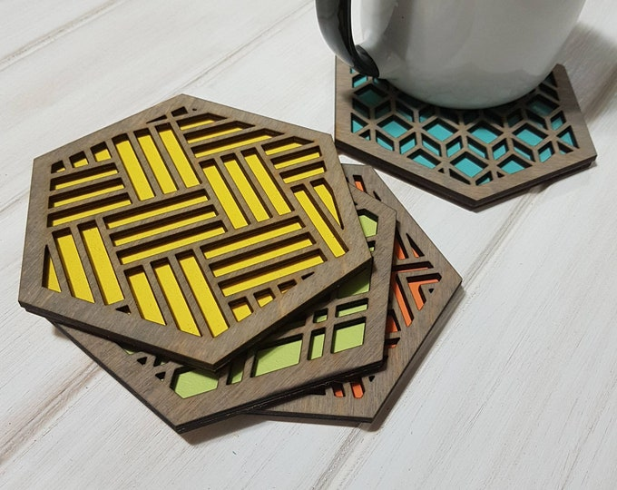 Make Your Own Set - Color Pop Geo Coasters Grey Stain -Single or Sets - Fun Coaster -Modern Classic Coaster - Wood Coaster-Laser Cut