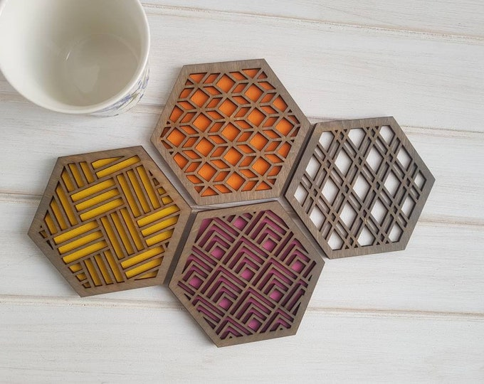Grey- Warm Color Pop Geo Coasters -Set of Four - Fun Coaster -Modern Classic Coaster - Wood Coaster-Laser Cut- Geometric Wooden- Pink