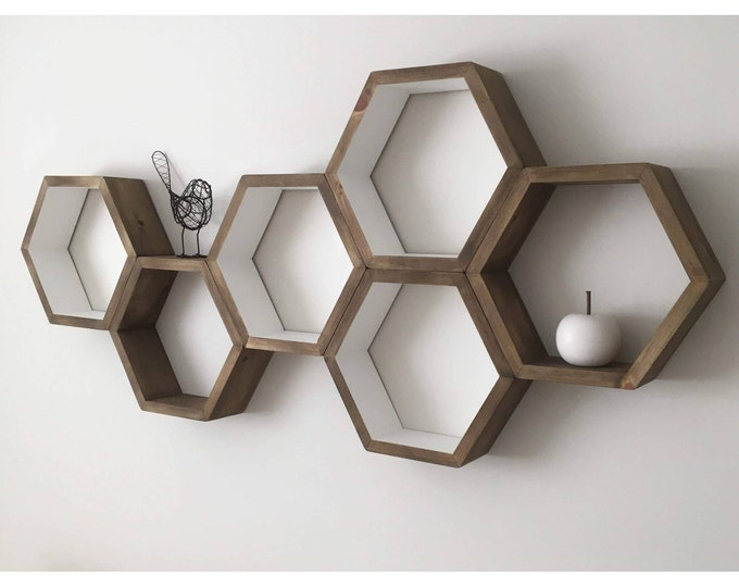 "Set of 6 Stained Hexagon Shelf- 3.5"" Deep, 12"" point to point - Honeycomb Shelves - Reclaimed Wood - Floating Shelves - Geometric Shelves"