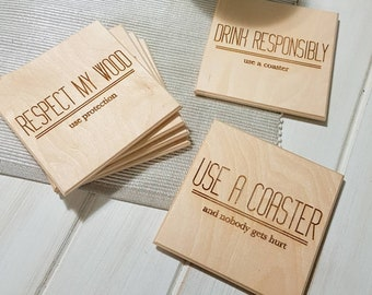 Table Pun Coasters - Single or Sets- Funny Coasters - Pun Coasters -Modern Coasters -Laser Cut- Laser Engraved- Wooden