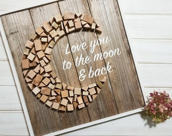 I Love You To the Moon and Back Sign | Romantic sign | Love sign | Nursery wood sign | Cute wood sign | Gallery wall sign | Framed wood sign
