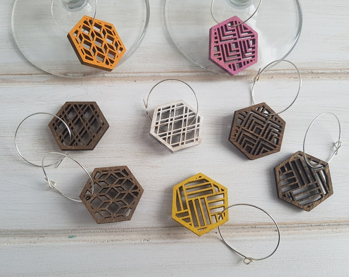 Walnut- Warm Color Pop Geo Wine Charms -Set of Eight - Fun Wine Charms -Modern Classic Wine Charms- Wood Laser Cut- Geometric Wooden