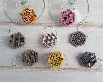 Grey- Warm Color Pop Geo Wine Charms -Set of Eight - Fun Wine Charms -Modern Classic Wine Charms- Wood Laser Cut- Geometric Wooden