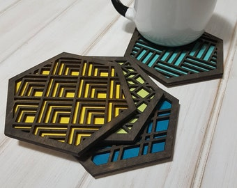Color Pop Geo Coasters -Single or Sets - Fun Coaster -Modern Classic Coaster - Wood Coaster-Laser Cut- Laser Engraved- Geometric Wooden