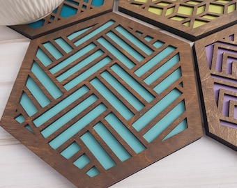 Make Your Own Set- Color Pop Geo Trivets -Set of Four- Fun Pot Holder -Modern Classic Trivets-Wood Trivets-Laser Cut- Geometric Wooden- Blue