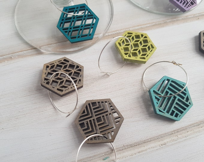 Grey- Cool Color Pop Geo Wine Charms -Set of Eight - Fun Wine Charms -Modern Classic Wine Charms- Wood Laser Cut- Geometric Wooden