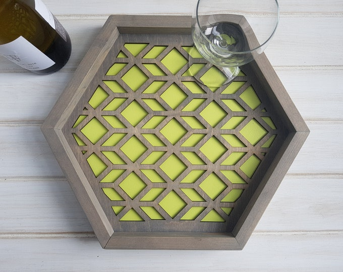 Lime Green - Color Pop Geo Serving Tray - Fun Tray -Modern Classic Tray- Wood Laser Cut- Geometric Wooden