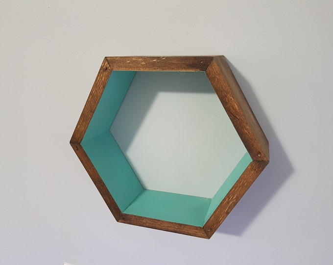 "Stained Single Hexagon Shelf, 3.5"" Deep, 12"" point to point,Honeycomb Shelves, Reclaimed Wood, Floating Shelves, Geometric Shelves"