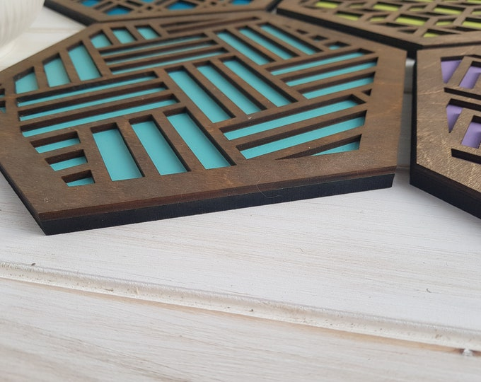 Walnut - Warm Color Pop Geo Trivets -Set of Four - Fun Pot Holder  -Modern Classic Trivets - Wood Trivets -Laser Cut- Geometric Wooden- Blue
