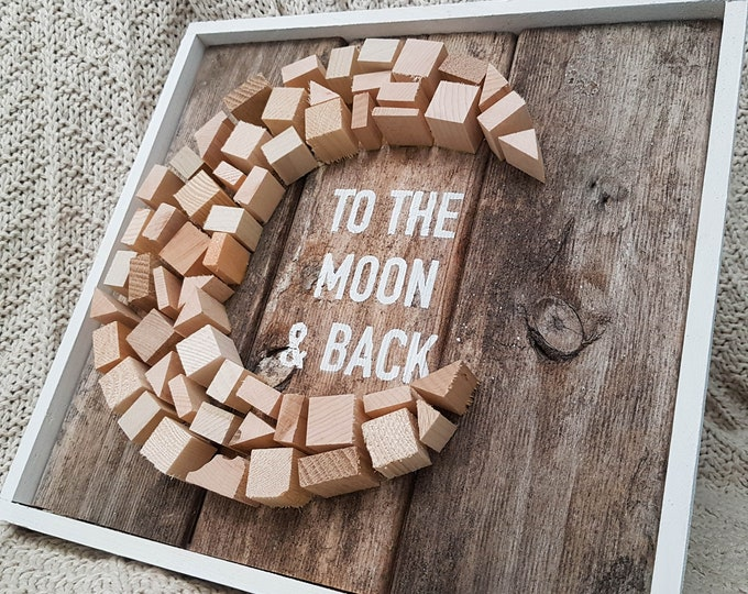 I Love You To the Moon and Back Sign - Romantic sign - Love sign - Nursery wood sign - Cute wood sign - Gallery wall sign - Framed wood sign