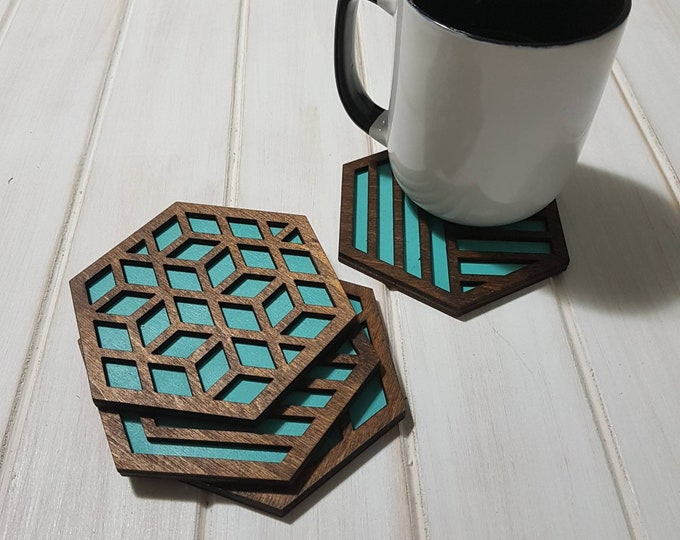Blue Pop Geometric Coasters -Single or Sets - Fun Coaster -Modern Classic Coaster - Wood Coaster-Laser Cut- Laser Engraved- Discontinued