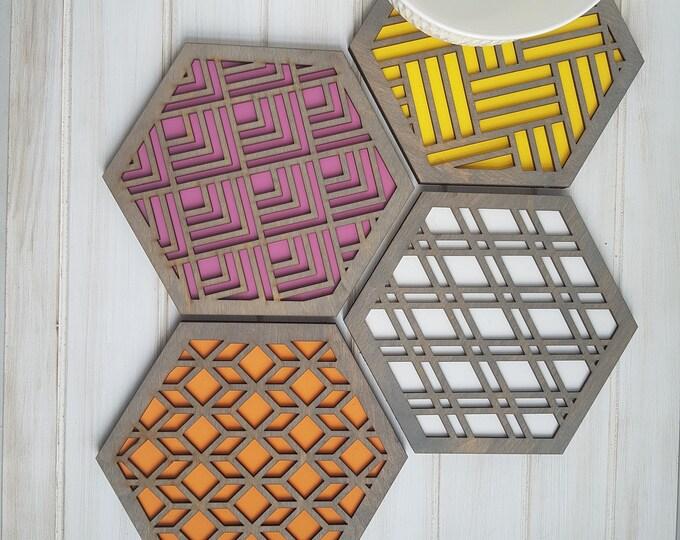 Grey - Warm Color Pop Geo Trivets -Set of Four - Fun Pot Holder  -Modern Classic Trivets - Wood Trivets -Laser Cut- Geometric Wooden- Blue