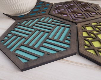 Grey - Cool Color Pop Geo Trivets -Set of Four - Fun Pot Holder  -Modern Classic Trivets - Wood Trivets -Laser Cut- Geometric Wooden- Blue