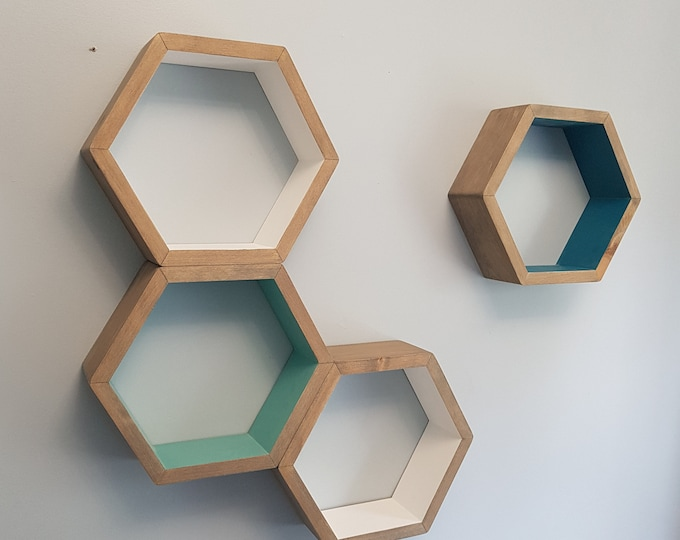 "Set of 4 Stained Hexagon Shelf- 3.5"" Deep, 12"" point to point - Honeycomb Shelves - Reclaimed Wood - Floating Shelves - Geometric Shelves"