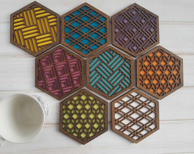 Walnut - Color Pop Geo Coasters Stained -Set of Eight - Fun Coaster -Modern Classic Coaster - Wood Coaster-Laser Cut- Geometric Wooden