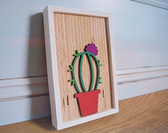 Rustic flower cactus sign - Succulent sign - Cactus wall sign - Cute wood sign -  Gallery wall sign -  Framed wood sign