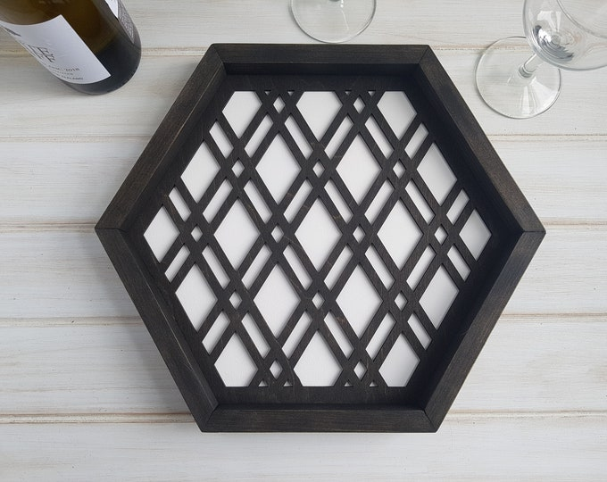 White - Color Pop Geo Serving Tray - Fun Tray -Modern Classic Tray- Wood Laser Cut- Geometric Wooden