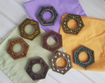 Walnut- Color Pop Geo Napkin Rings -Set of Eight- Fun Napkin Ring -Modern Classic Napkin Ring- Wood Laser Cut- Geometric Wooden