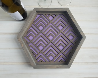 Purple - Color Pop Geo Serving Tray - Fun Tray -Modern Classic Tray- Wood Laser Cut- Geometric Wooden