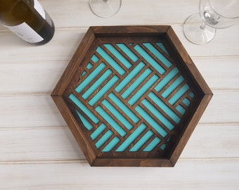 Light Teal - Color Pop Geo Serving Tray - Fun Tray -Modern Classic Tray- Wood Laser Cut- Geometric Wooden