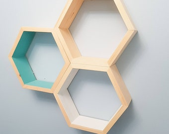 "Set of 3 Stained Hexagon Shelf- 3.5"" Deep, 12"" point to point - Honeycomb Shelves - Reclaimed Wood - Floating Shelves - Geometric Shelves"