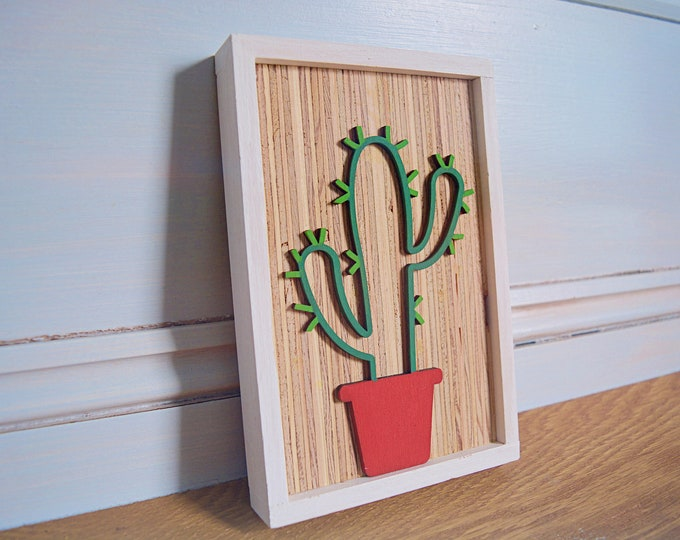 Rustic Earth Tone Cactus sign - Succulent sign - Cactus wall sign - Cute wood sign -  Gallery wall sign -  Framed wood sign