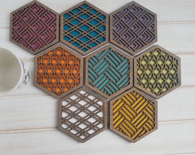 Grey - Color Pop Geo Coasters -Set of Eight - Fun Coaster -Modern Classic Coaster - Wood Coaster-Laser Cut- Geometric Wooden- Gray