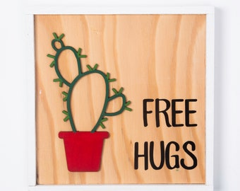 Cactus Sign Kit - Free Hugs - Succulent Sign - Cactus Wall Sign - Cute Wood Sign -  DIY Painted Wall Sign Kit -  DIY Wood Sign Kit