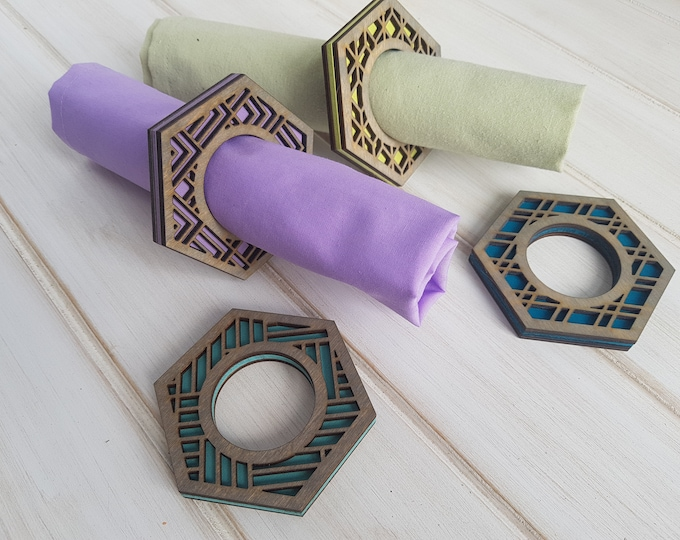 Grey- Make Your Own- Color Pop Geo Napkin Rings -Set of Eight- Fun Napkin Ring-Modern Classic Napkin Ring-Wood Laser Cut- Geometric Wooden