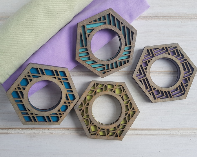 Grey- Cool Color Pop Geo Napkin Rings -Set of Four - Fun Napkin Ring -Modern Classic Napkin Ring- Wood Laser Cut- Geometric Wooden