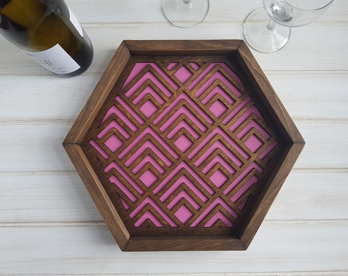 Pink - Color Pop Geo Serving Tray - Fun Tray -Modern Classic Tray- Wood Laser Cut- Geometric Wooden