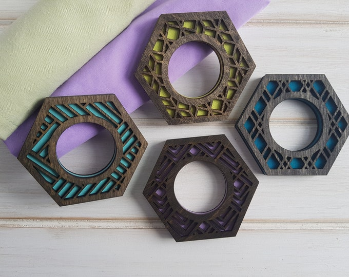 Black- Cool Color Pop Geo Napkin Rings -Set of Four - Fun Napkin Ring -Modern Classic Napkin Ring- Wood Laser Cut- Geometric Wooden