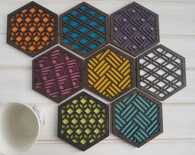 Black - Color Pop Geo Coasters -Set of Eight - Fun Coaster -Modern Classic Coaster - Wood Coaster-Laser Cut- Geometric Wooden