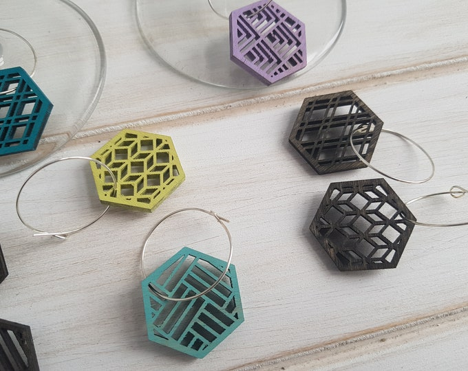 Black- Cool Color Pop Geo Wine Charms -Set of Eight - Fun Wine Charms -Modern Classic Wine Charms- Wood Laser Cut- Geometric Wooden