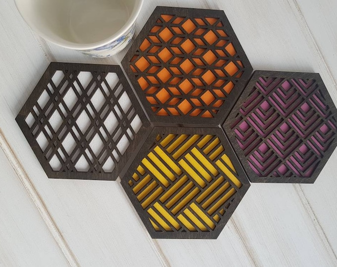 Black - Warm Color Pop Geo Coasters -Set of Four - Fun Coaster -Modern Classic Coaster - Wood Coaster-Laser Cut- Geometric Wooden- Pink