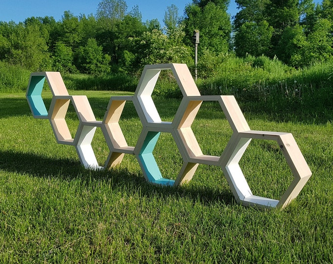 "Natural Single Hexagon Shelf, 3.5"" Deep, 12"" point to point,Honeycomb Shelves, Reclaimed Wood, Floating Shelves, Geometric Shelves"