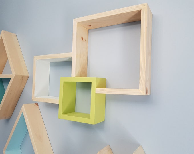 Stained Square Shelf - Floating Shelve - Geometric Shelves - Geometric Nursery - Bedroom Decor - Housewarming