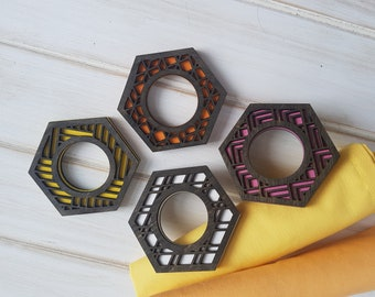 Black - Make Your Own- Color Pop Geo Napkin Rings -Set of Eight- Fun Napkin Ring-Modern Classic Napkin Ring-Wood Laser Cut- Geometric Wooden