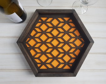 Orange - Color Pop Geo Serving Tray - Fun Tray -Modern Classic Tray- Wood Laser Cut- Geometric Wooden