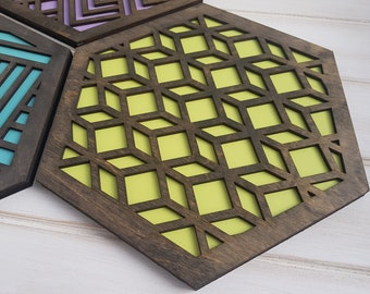 Make Your Own Set- Color Pop Geo Trivets -Set of Four- Fun Pot Holder -Modern Classic Trivets-Wood Trivets-Laser Cut- Geometric Wooden- Grey