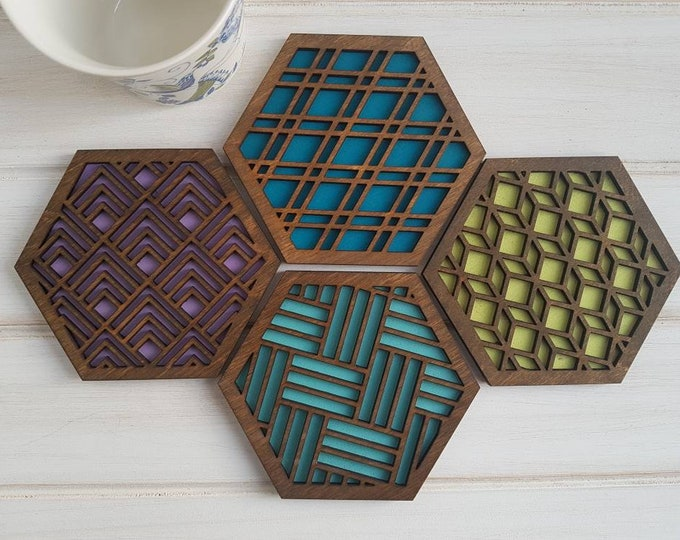Walnut - Cool Color Pop Geo Coasters -Set of Four - Fun Coaster -Modern Classic Coaster - Wood Coaster-Laser Cut- Geometric Wooden- Blue