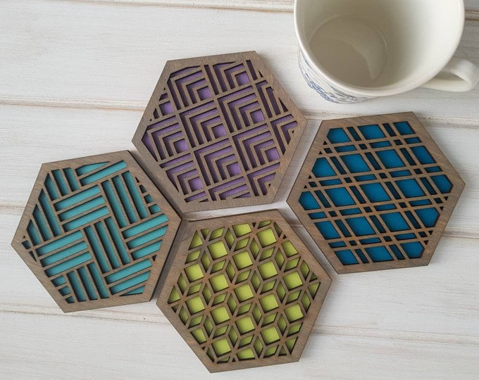 Grey - Cool Color Pop Geo Coasters -Set of Four - Fun Coaster -Modern Classic Coaster - Wood Coaster-Laser Cut- Geometric Wooden- Blue