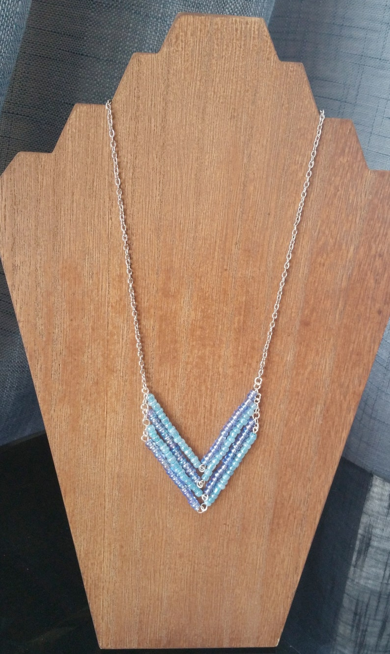 Aqua chevron necklace for women made with glass beads,beaded necklace for women,gift for her,summer necklace,sea and beach necklace for girl