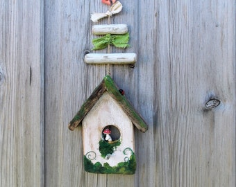 Birdhouse hanging wooden, countryside and nature